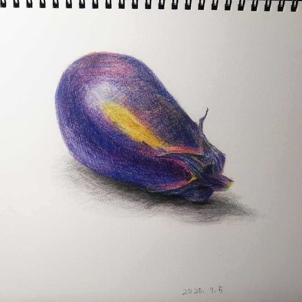 色鉛筆イラスト‗なすび